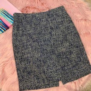 J crew factory tweed blue pencil skirt 6